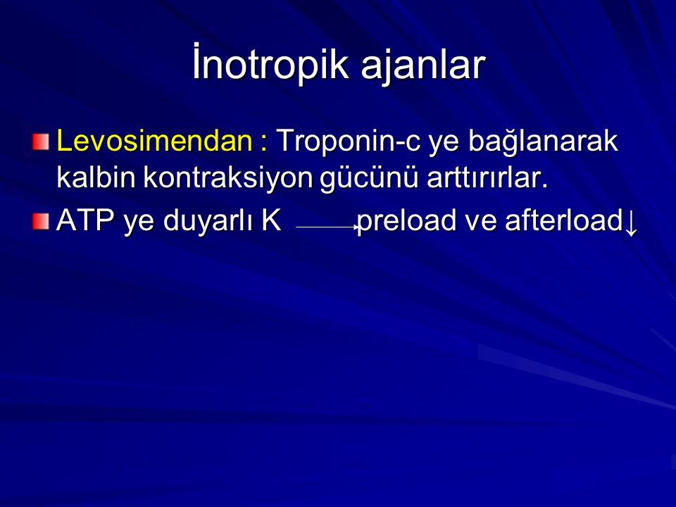 İnotropik ajanlar Levosimendan : Troponin-c ye bağlanarak kalbin kontraksiyon gücünü arttırırlar. ATP ye duyarlı K preload ve afterload↓