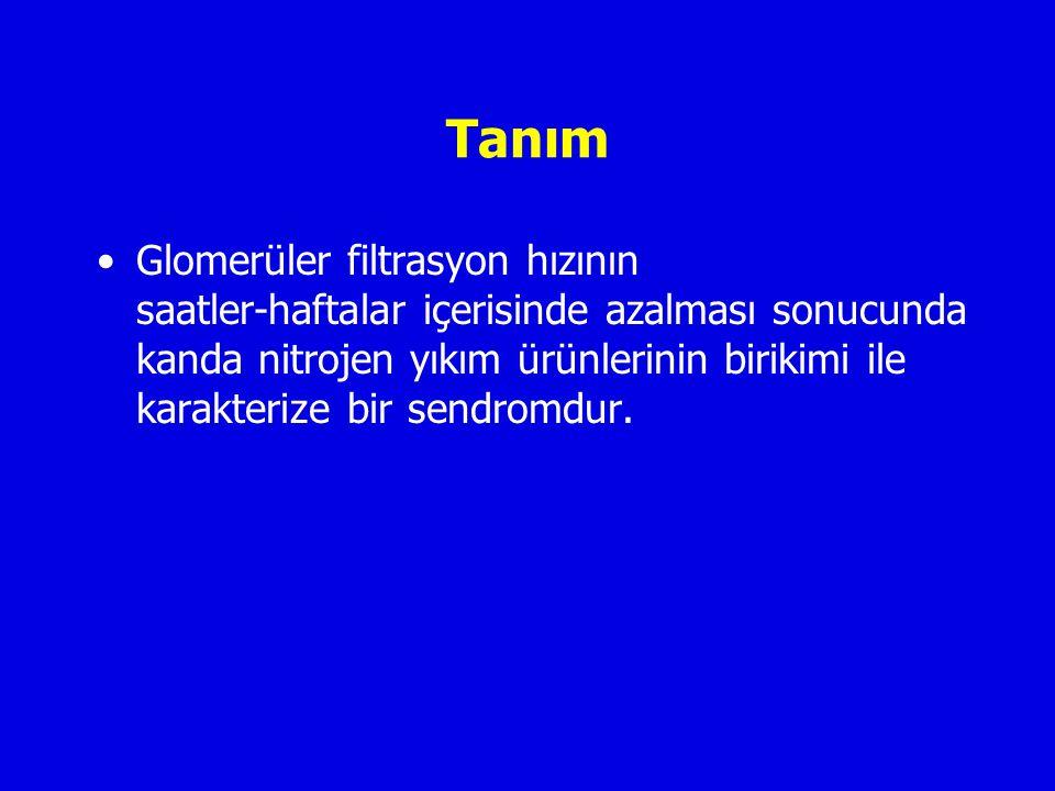 İsimlendirme Akut böbrek hasarı (AKI, acute kidney injury) Akut azotemi Akut böbrek yetersizliği (ARF, acute renal failure) Diyaliz gerektiren intrensek hasar -çoğunlukla ATN-
