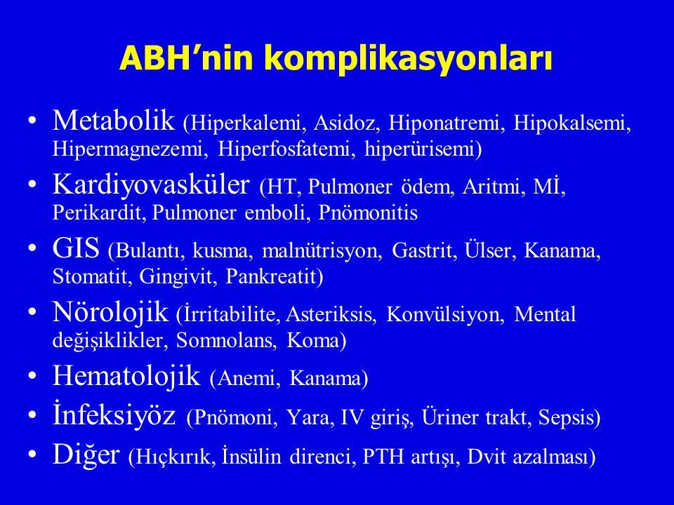 ABH'nin komplikasyonları Metabolik (Hiperkalemi, Asidoz, Hiponatremi, Hipokalsemi, Hipermagnezemi, Hiperfosfatemi, hiperürisemi) Kardiyovasküler (HT, Pulmoner ödem, Aritmi, Mİ, Perikardit, Pulmoner emboli, Pnömonitis GIS (Bulantı, kusma, malnütrisyon, Gastrit, Ülser, Kanama, Stomatit, Gingivit, Pankreatit) Nörolojik (İrritabilite, Asteriksis, Konvülsiyon, Mental değişiklikler, Somnolans, Koma) Hematolojik (Anemi, Kanama) İnfeksiyöz (Pnömoni, Yara, IV giriş, Üriner trakt, Sepsis) Diğer (Hıçkırık, İnsülin direnci, PTH artışı, Dvit azalması)