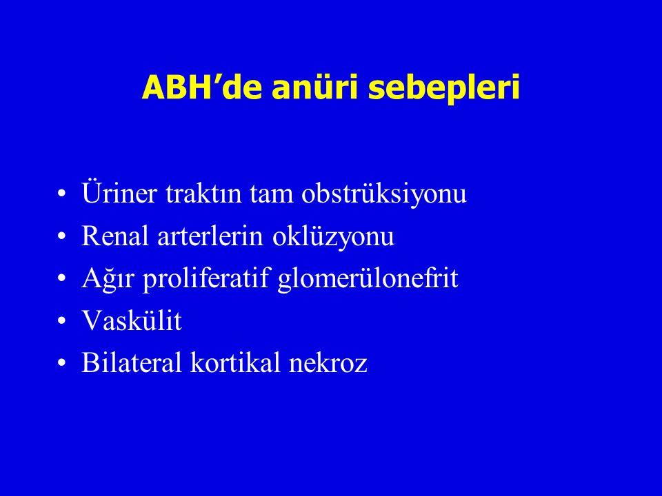 ABH'de anüri sebepleri Üriner traktın tam obstrüksiyonu Renal arterlerin oklüzyonu Ağır proliferatif glomerülonefrit Vaskülit Bilateral kortikal nekroz