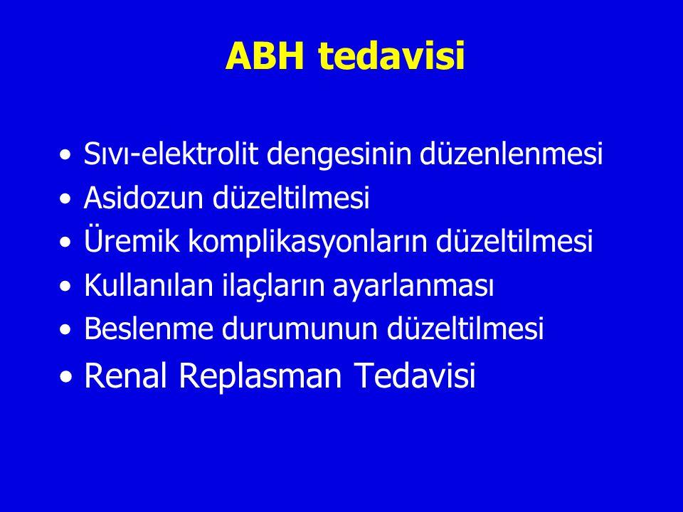 ABH tedavisi Sıvı-elektrolit dengesinin düzenlenmesi Asidozun düzeltilmesi Üremik komplikasyonların düzeltilmesi Kullanılan ilaçların ayarlanması Beslenme durumunun düzeltilmesi Renal Replasman Tedavisi