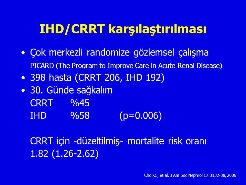 IHD/CRRT karşılaştırılması Çok merkezli randomize gözlemsel çalışma PICARD (The Program to Improve Care in Acute Renal Disease) 398 hasta (CRRT 206, IHD 192) 30.