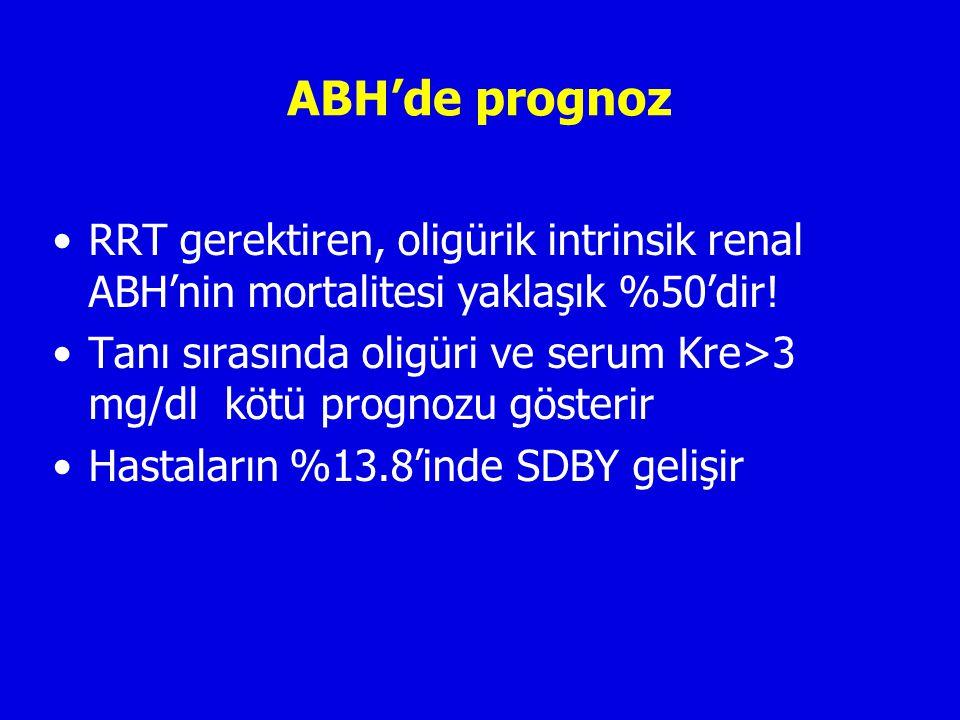 ABH'de prognoz RRT gerektiren, oligürik intrinsik renal ABH'nin mortalitesi yaklaşık %50'dir.