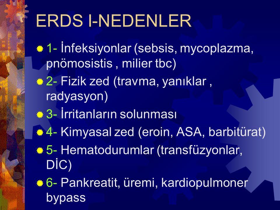 ERDS I-NEDENLER  1- İnfeksiyonlar (sebsis, mycoplazma, pnömosistis, milier tbc)  2- Fizik zed (travma, yanıklar, radyasyon)  3- İrritanların solunm