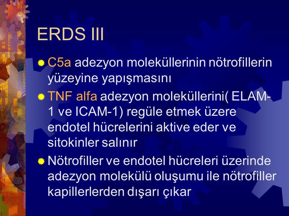 ERDS III  C5a adezyon moleküllerinin nötrofillerin yüzeyine yapışmasını  TNF alfa adezyon moleküllerini( ELAM- 1 ve ICAM-1) regüle etmek üzere endot
