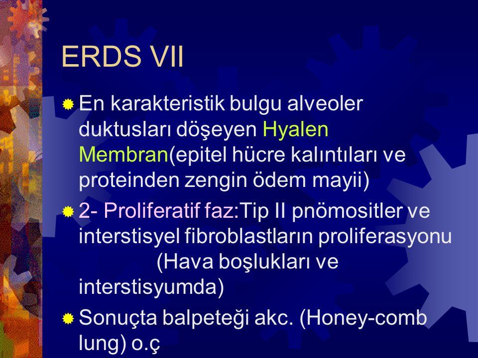 ERDS VII  En karakteristik bulgu alveoler duktusları döşeyen Hyalen Membran(epitel hücre kalıntıları ve proteinden zengin ödem mayii)  2- Proliferat