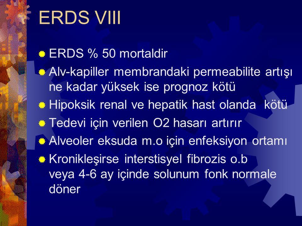 ERDS VIII  ERDS % 50 mortaldir  Alv-kapiller membrandaki permeabilite artışı ne kadar yüksek ise prognoz kötü  Hipoksik renal ve hepatik hast oland
