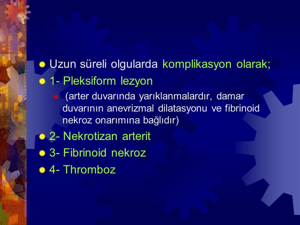  Uzun süreli olgularda komplikasyon olarak;  1- Pleksiform lezyon  (arter duvarında yarıklanmalardır, damar duvarının anevrizmal dilatasyonu ve fib