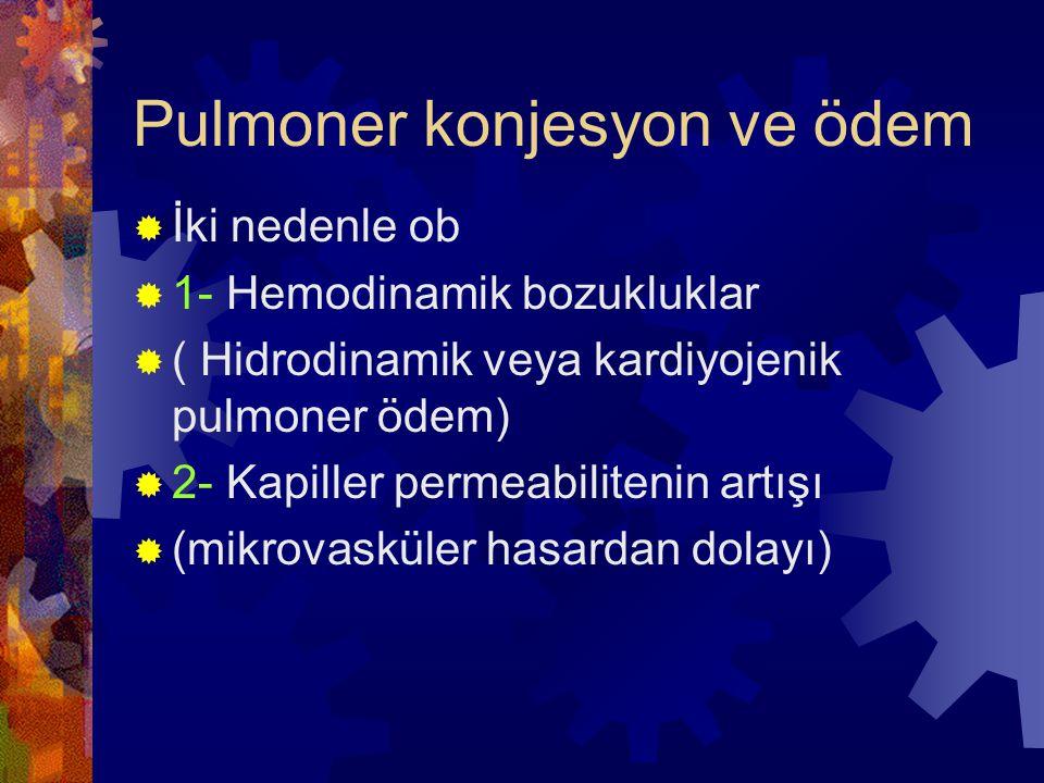 Hemodinamik Pulmoner Ödem  Pulmoner ödemin en sık hemodinamik mekanizması sol kalp yetmezliğine bağlı artmış hidrositatik basınç  Akciğerin ağırlığı artmış ve ıslak görünümlü  Sıvı birikimi başlangıçta akciğerin alt loblarındadır  Mikroskopi;  Alveoller kapiller genişlemiş ve alveoller içinde granüler, pembe sıvı birikimi  Alveoller içinde hemoraji ve hemosiderinli makrofajlar (kalp hatası hücreleri)