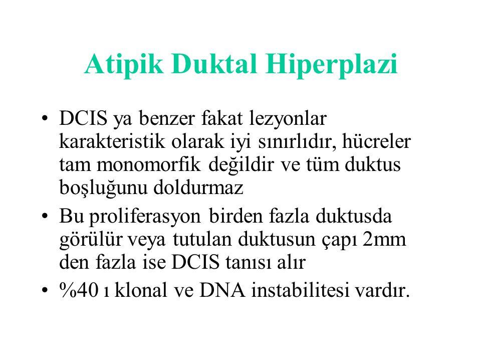 Atipik Duktal Hiperplazi DCIS ya benzer fakat lezyonlar karakteristik olarak iyi sınırlıdır, hücreler tam monomorfik değildir ve tüm duktus boşluğunu doldurmaz Bu proliferasyon birden fazla duktusda görülür veya tutulan duktusun çapı 2mm den fazla ise DCIS tanısı alır %40 ı klonal ve DNA instabilitesi vardır.