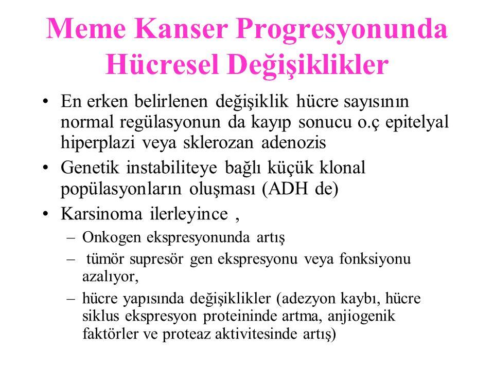 Meme Tümörlerinde Tanı Yöntemleri 1- Direkt smear (meme başına açılmış veya deri tutulumu varsa) 2- Sıvı aspirasyonu (kistik lezyon) 3- İİAB (solid lezyon) 4- Meme başı akıntısının sitolojik incelenmesi 5- Tru-cut iğne biyopsisi (KT ile küçültüp cerrahi yapılacaksa) 6- İnsizyonel biyopsi 7- Eksizyonel biyopsi –Frozen section –Parafin blok