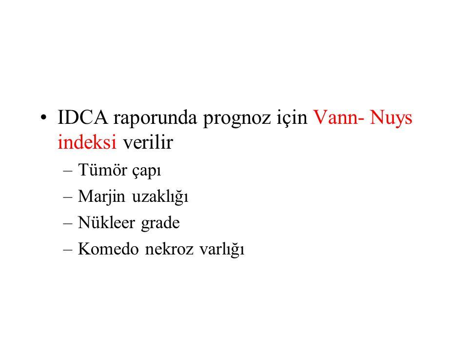 IDCA raporunda prognoz için Vann- Nuys indeksi verilir –Tümör çapı –Marjin uzaklığı –Nükleer grade –Komedo nekroz varlığı