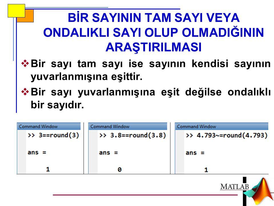for döngü değişkeni = başlangıç:artış miktarı:bitiş komutlar end for DÖNGÜSÜ for döngü değişkeni = başlangıç:bitiş komutlar end artış miktarı otomatik olarak 1 atanır.