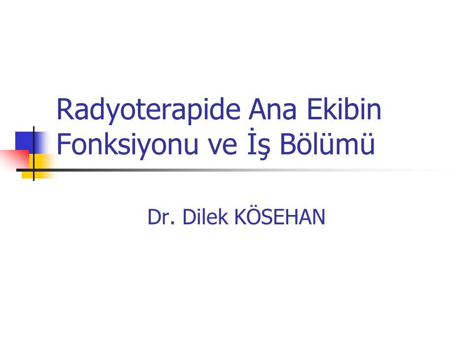 Radyoterapide Ana Ekibin Fonksiyonu ve İş Bölümü Dr. Dilek KÖSEHAN