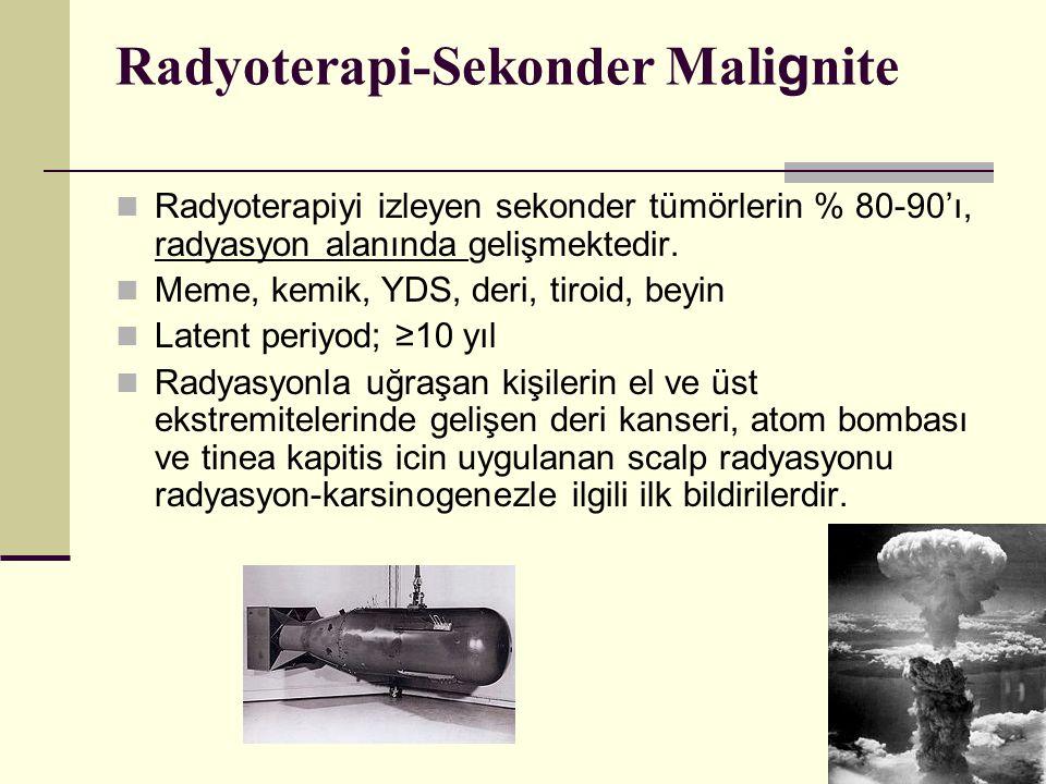 Radyoterapi-Sekonder Mali g nite Radyoterapiyi izleyen sekonder tümörlerin % 80-90'ı, radyasyon alanında gelişmektedir. Meme, kemik, YDS, deri, tiroid