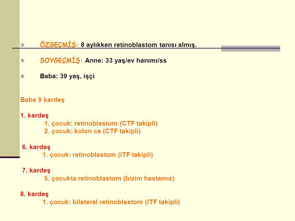 ÖZGEÇMİŞ: 8 aylıkken retinoblastom tanısı almış. SOYGEÇMİŞ: Anne: 33 yaş/ev hanımı/ss Baba: 39 yaş, işçi Baba 9 kardeş 1. kardeş 1. çocuk: retinoblast