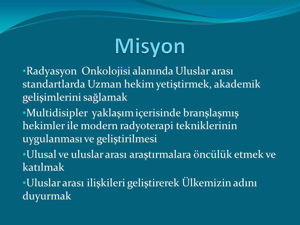 Geleceği şekillendirecek akademisyenlerin yetiştirilmesi Türkiyede Radyasyon Onkolojisinin gelişimine önderlik etmek Etik kurallara bağlı yüksek teknolojiyi ve bilgiyi kullanan hizmet standardını sağlamak