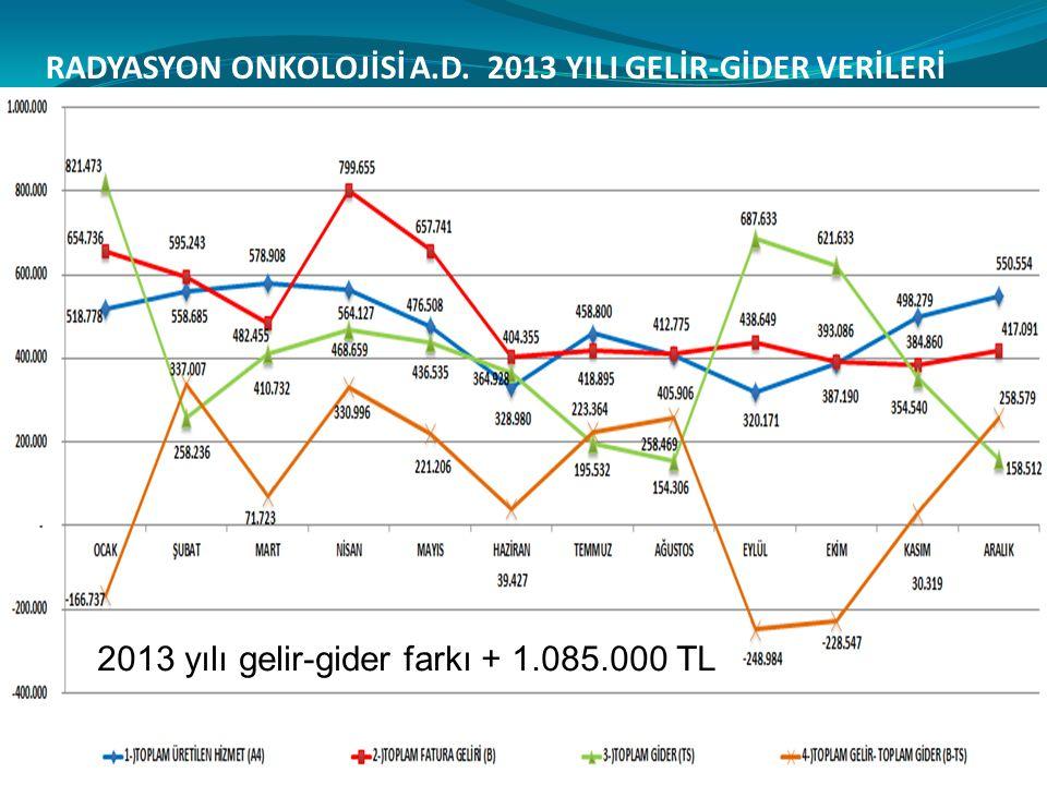 RADYASYON ONKOLOJİSİ A.D. 2013 YILI GELİR-GİDER VERİLERİ 2013 yılı gelir-gider farkı + 1.085.000 TL