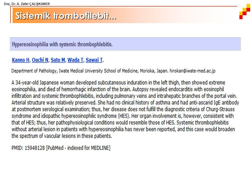 Doç. Dr. A. Zafer ÇALIŞKANER Sistemik trombofilebit...