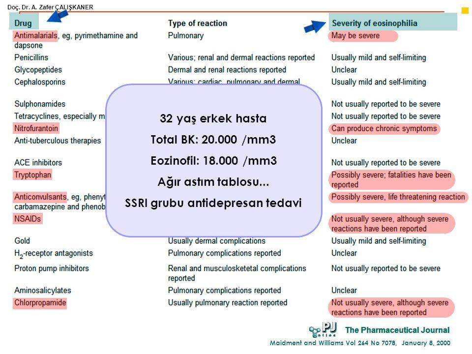 Doç. Dr. A. Zafer ÇALIŞKANER Maidment and Williams Vol 264 No 7078, January 8, 2000 32 yaş erkek hasta Total BK: 20.000 /mm3 Eozinofil: 18.000 /mm3 Ağ