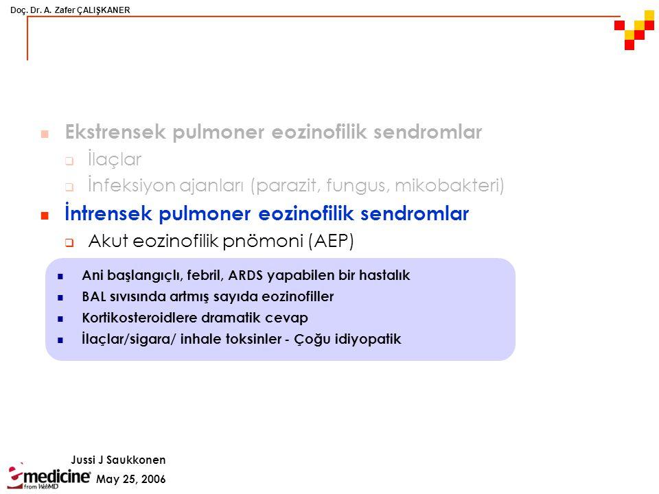 Doç. Dr. A. Zafer ÇALIŞKANER May 25, 2006 Jussi J Saukkonen Ekstrensek pulmoner eozinofilik sendromlar  İlaçlar  İnfeksiyon ajanları (parazit, fungu