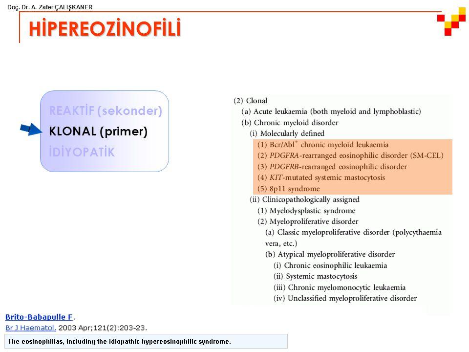 Doç. Dr. A. Zafer ÇALIŞKANER HİPEREOZİNOFİLİ REAKTİF (sekonder) KLONAL (primer) İDİYOPATİK