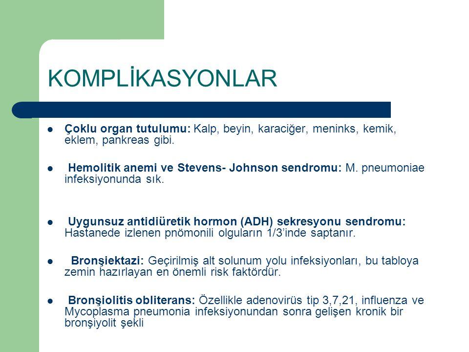 KOMPLİKASYONLAR Çoklu organ tutulumu: Kalp, beyin, karaciğer, meninks, kemik, eklem, pankreas gibi. Hemolitik anemi ve Stevens- Johnson sendromu: M. p