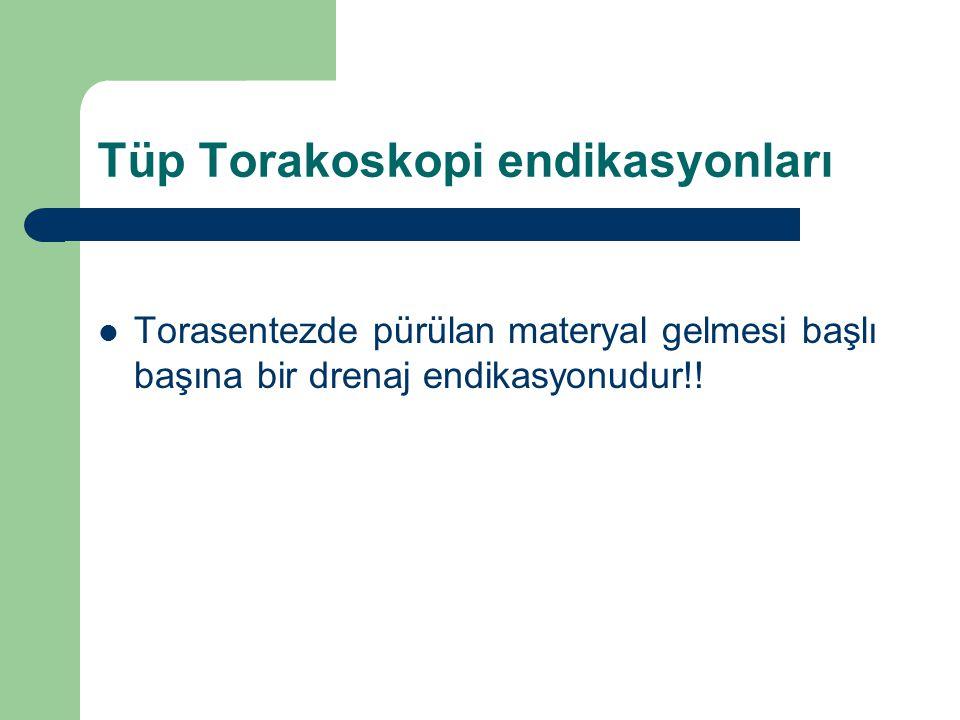 Tüp Torakoskopi endikasyonları Torasentezde pürülan materyal gelmesi başlı başına bir drenaj endikasyonudur!!