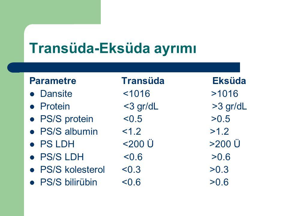 Transüda-Eksüda ayrımı Parametre Transüda Eksüda Dansite 1016 Protein 3 gr/dL PS/S protein 0.5 PS/S albumin 1.2 PS LDH 200 Ü PS/S LDH 0.6 PS/S koleste
