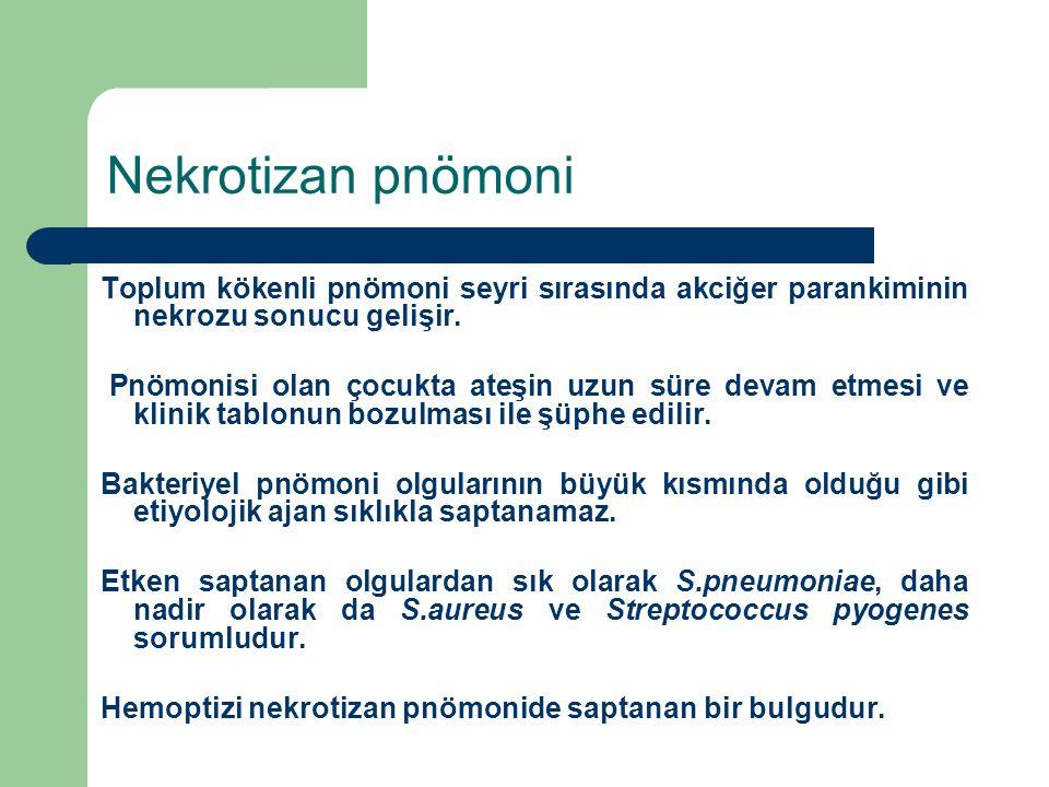 Nekrotizan pnömoni Toplum kökenli pnömoni seyri sırasında akciğer parankiminin nekrozu sonucu gelişir. Pnömonisi olan çocukta ateşin uzun süre devam e