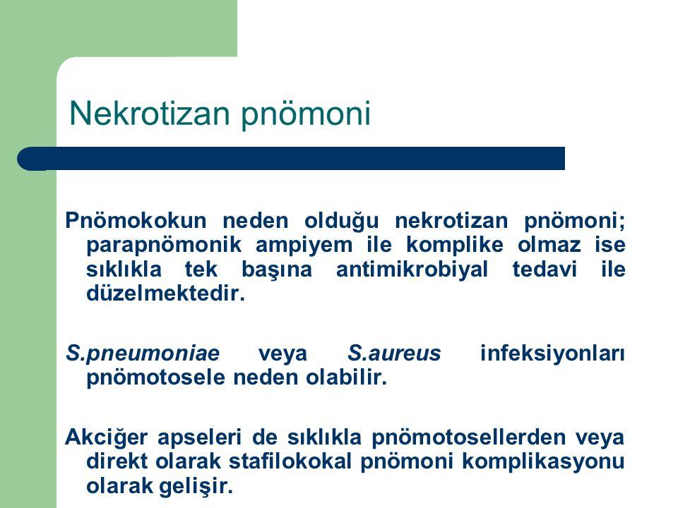 Nekrotizan pnömoni Pnömokokun neden olduğu nekrotizan pnömoni; parapnömonik ampiyem ile komplike olmaz ise sıklıkla tek başına antimikrobiyal tedavi i