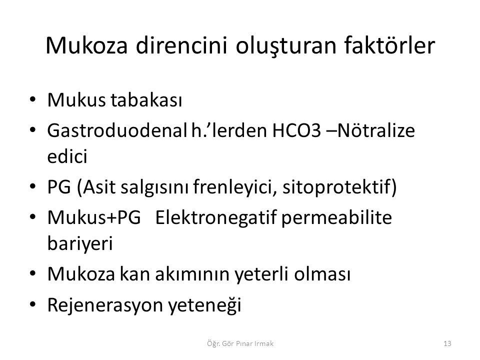 Mukoza direncini oluşturan faktörler Mukus tabakası Gastroduodenal h.'lerden HCO3 –Nötralize edici PG (Asit salgısını frenleyici, sitoprotektif) Mukus