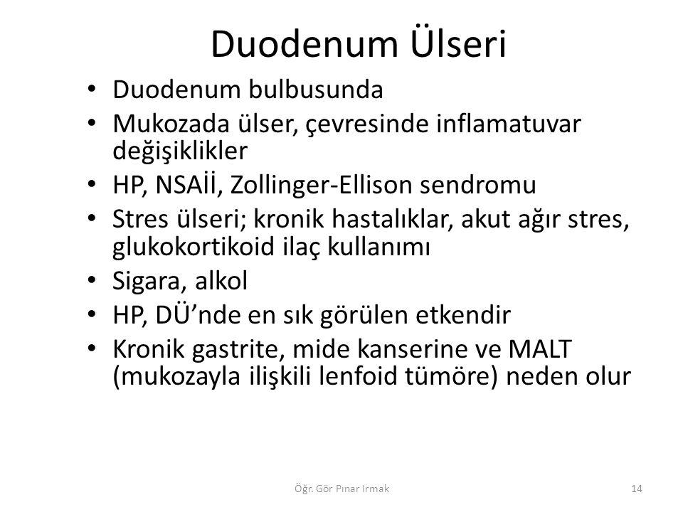 Duodenum Ülseri Duodenum bulbusunda Mukozada ülser, çevresinde inflamatuvar değişiklikler HP, NSAİİ, Zollinger-Ellison sendromu Stres ülseri; kronik h
