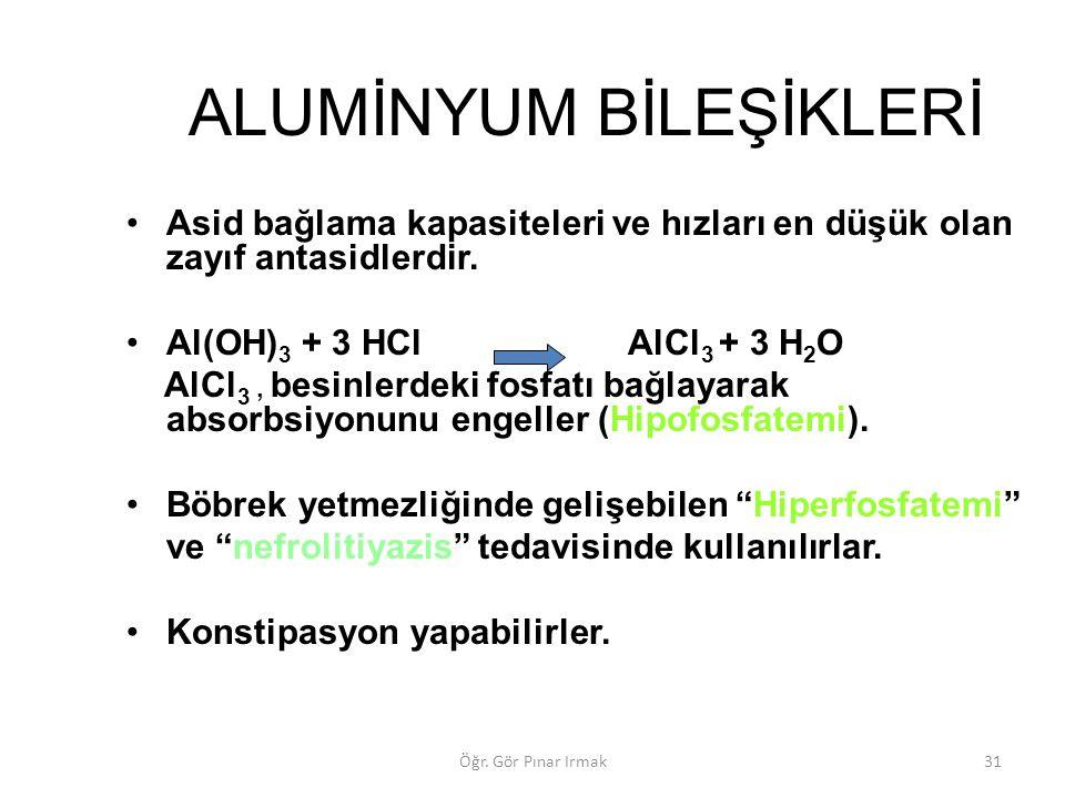 ALUMİNYUM BİLEŞİKLERİ Asid bağlama kapasiteleri ve hızları en düşük olan zayıf antasidlerdir. Al(OH) 3 + 3 HCl AlCl 3 + 3 H 2 O AlCl 3, besinlerdeki f