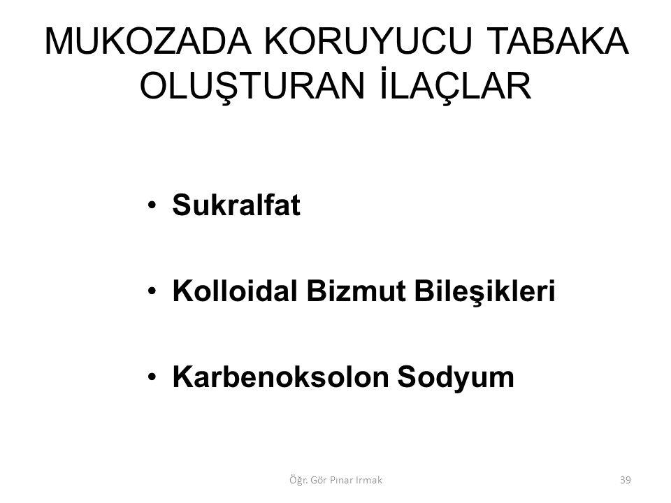 MUKOZADA KORUYUCU TABAKA OLUŞTURAN İLAÇLAR Sukralfat Kolloidal Bizmut Bileşikleri Karbenoksolon Sodyum 39Öğr. Gör Pınar Irmak