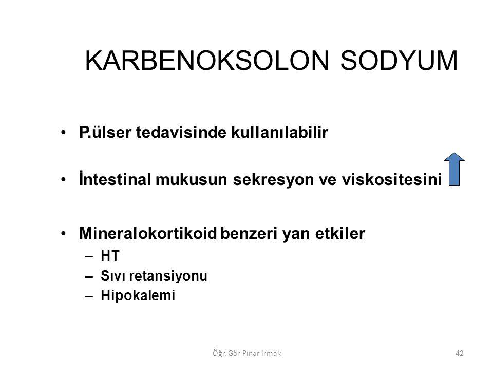KARBENOKSOLON SODYUM P.ülser tedavisinde kullanılabilir İntestinal mukusun sekresyon ve viskositesini Mineralokortikoid benzeri yan etkiler –HT –Sıvı