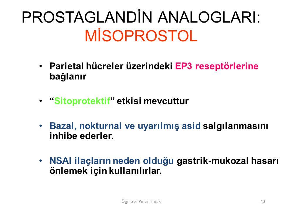 """PROSTAGLANDİN ANALOGLARI: MİSOPROSTOL Parietal hücreler üzerindeki EP3 reseptörlerine bağlanır """"Sitoprotektif"""" etkisi mevcuttur Bazal, nokturnal ve uy"""