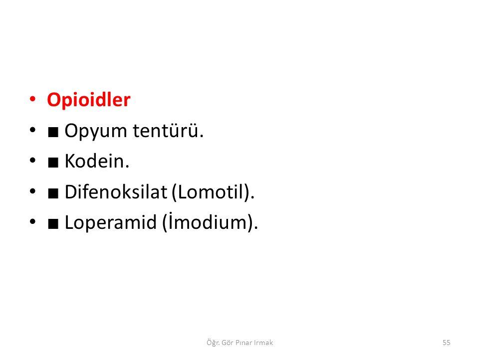 Opioidler ■ Opyum tentürü. ■ Kodein. ■ Difenoksilat (Lomotil). ■ Loperamid (İmodium). 55Öğr. Gör Pınar Irmak