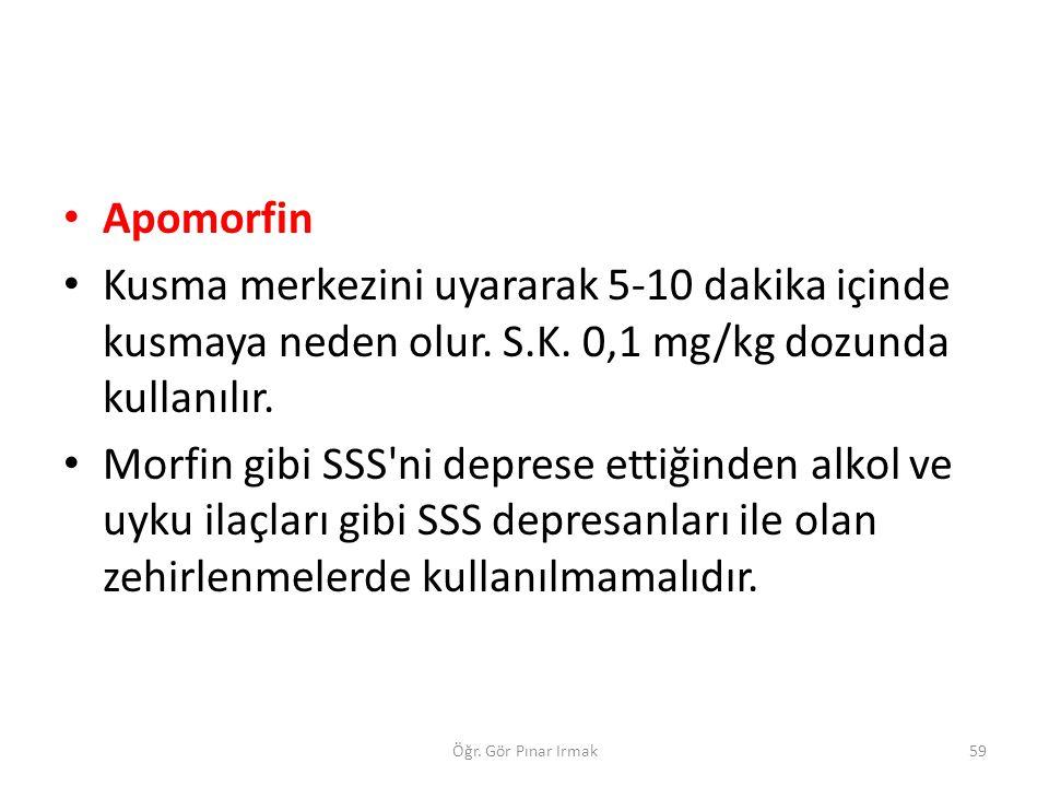 Apomorfin Kusma merkezini uyararak 5-10 dakika içinde kusmaya neden olur. S.K. 0,1 mg/kg dozunda kullanılır. Morfin gibi SSS'ni deprese ettiğinden alk