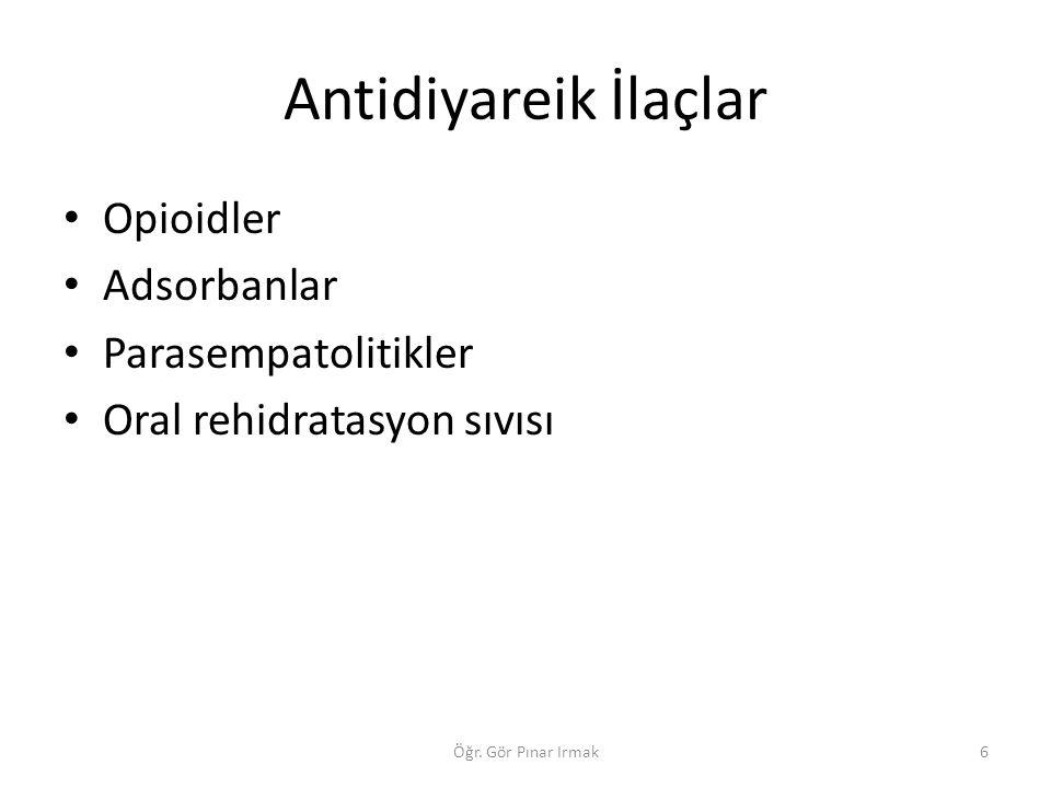 Antidiyareik İlaçlar Opioidler Adsorbanlar Parasempatolitikler Oral rehidratasyon sıvısı 6Öğr. Gör Pınar Irmak