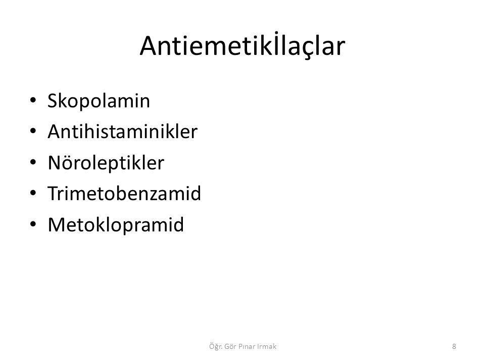 Antiemetikİlaçlar Skopolamin Antihistaminikler Nöroleptikler Trimetobenzamid Metoklopramid 8Öğr. Gör Pınar Irmak