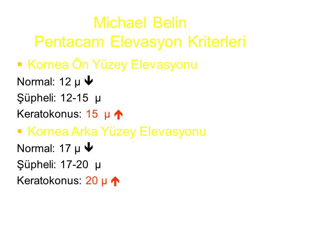 Michael Belin Pentacam Elevasyon Kriterleri  Kornea Ön Yüzey Elevasyonu Normal: 12 µ  Şüpheli: 12-15 µ Keratokonus: 15 µ   Kornea Arka Yüzey Eleva