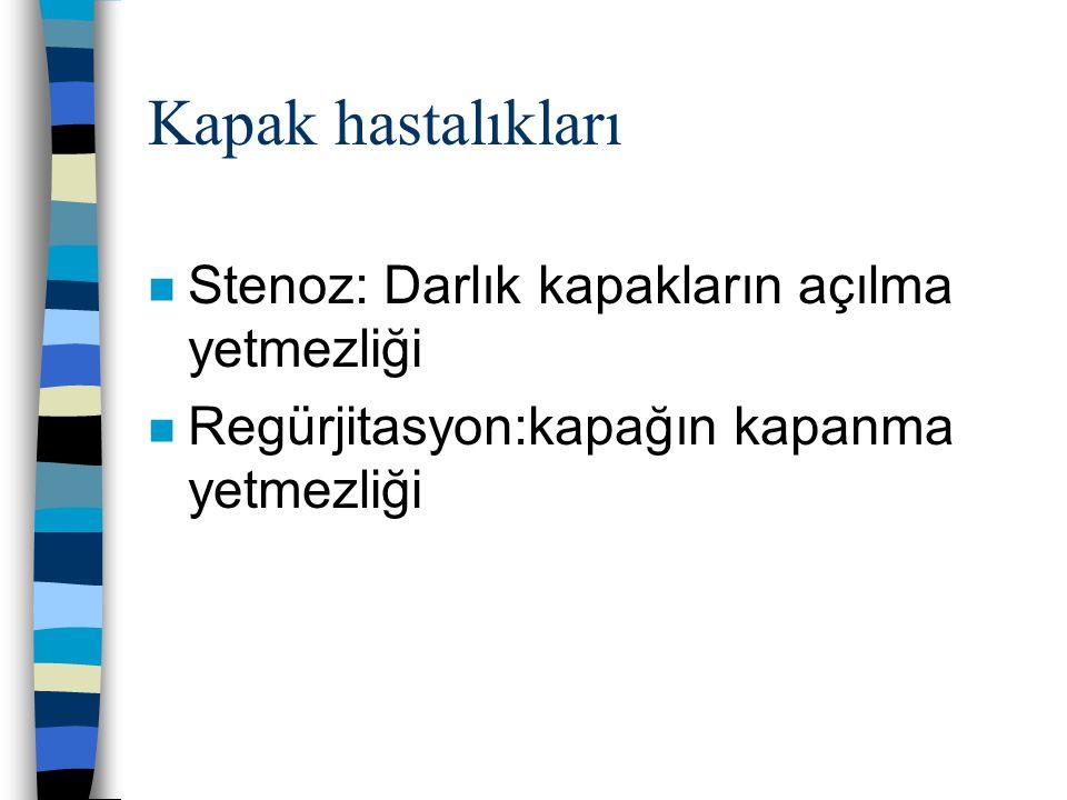 Kapak hastalıkları n Stenoz: Darlık kapakların açılma yetmezliği n Regürjitasyon:kapağın kapanma yetmezliği