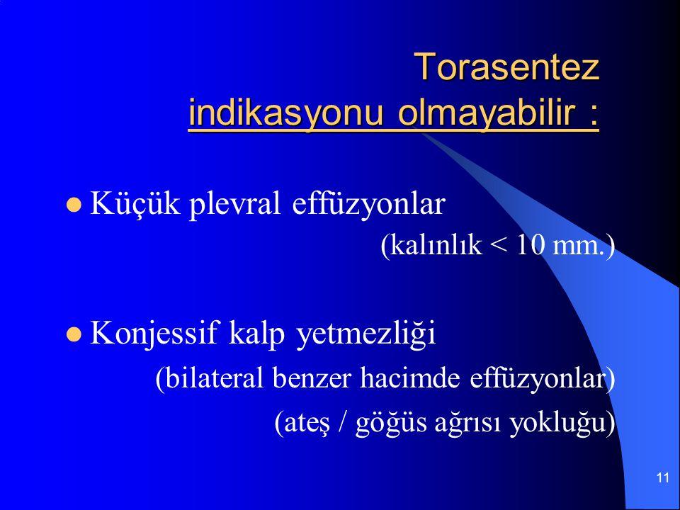 11 Torasentez indikasyonu olmayabilir : Küçük plevral effüzyonlar (kalınlık < 10 mm.) Konjessif kalp yetmezliği (bilateral benzer hacimde effüzyonlar)