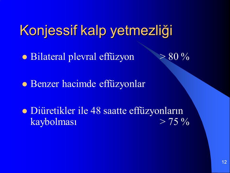 12 Konjessif kalp yetmezliği Bilateral plevral effüzyon> 80 % Benzer hacimde effüzyonlar Diüretikler ile 48 saatte effüzyonların kaybolması> 75 %