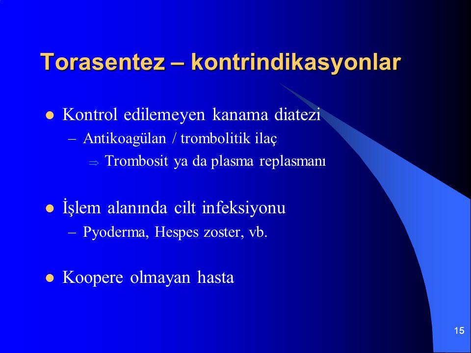 15 Torasentez – kontrindikasyonlar Kontrol edilemeyen kanama diatezi –Antikoagülan / trombolitik ilaç  Trombosit ya da plasma replasmanı İşlem alanın