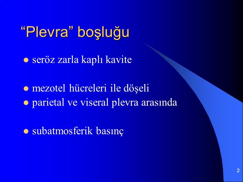 """2 """"Plevra"""" boşluğu seröz zarla kaplı kavite mezotel hücreleri ile döşeli parietal ve viseral plevra arasında subatmosferik basınç"""