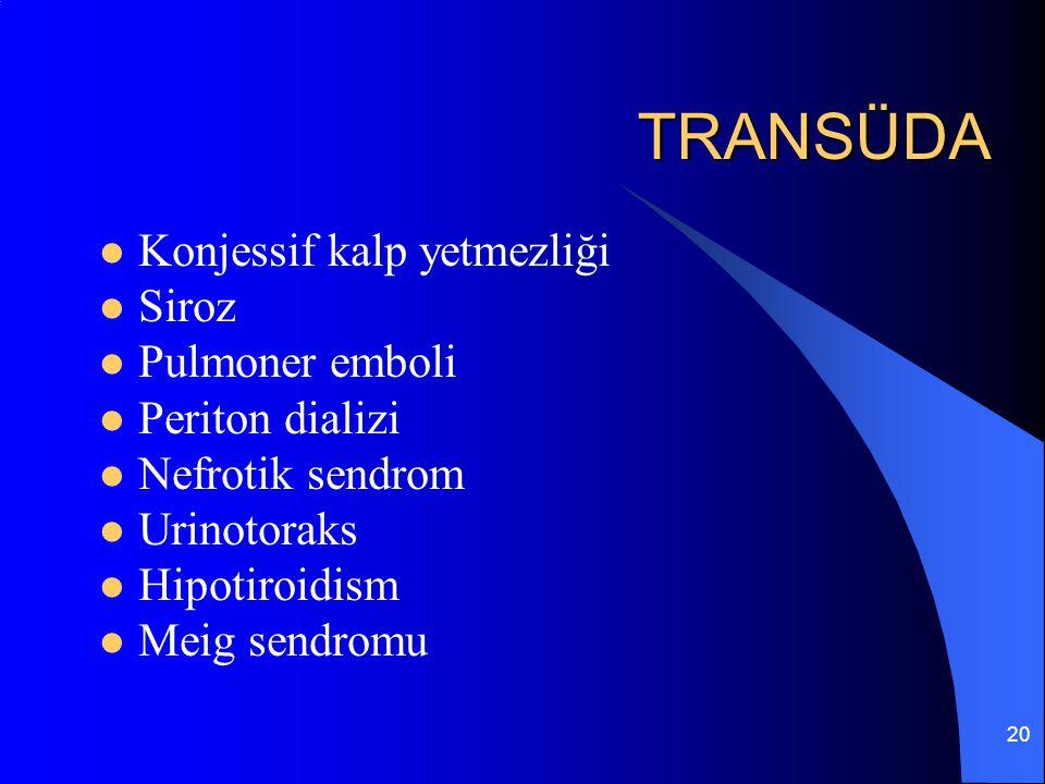 20 TRANSÜDA Konjessif kalp yetmezliği Siroz Pulmoner emboli Periton dializi Nefrotik sendrom Urinotoraks Hipotiroidism Meig sendromu