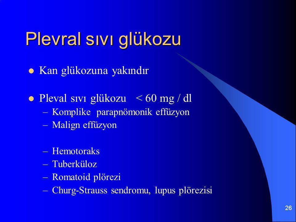 26 Plevral sıvı glükozu Kan glükozuna yakındır Pleval sıvı glükozu < 60 mg / dl –Komplike parapnömonik effüzyon –Malign effüzyon –Hemotoraks –Tuberkül