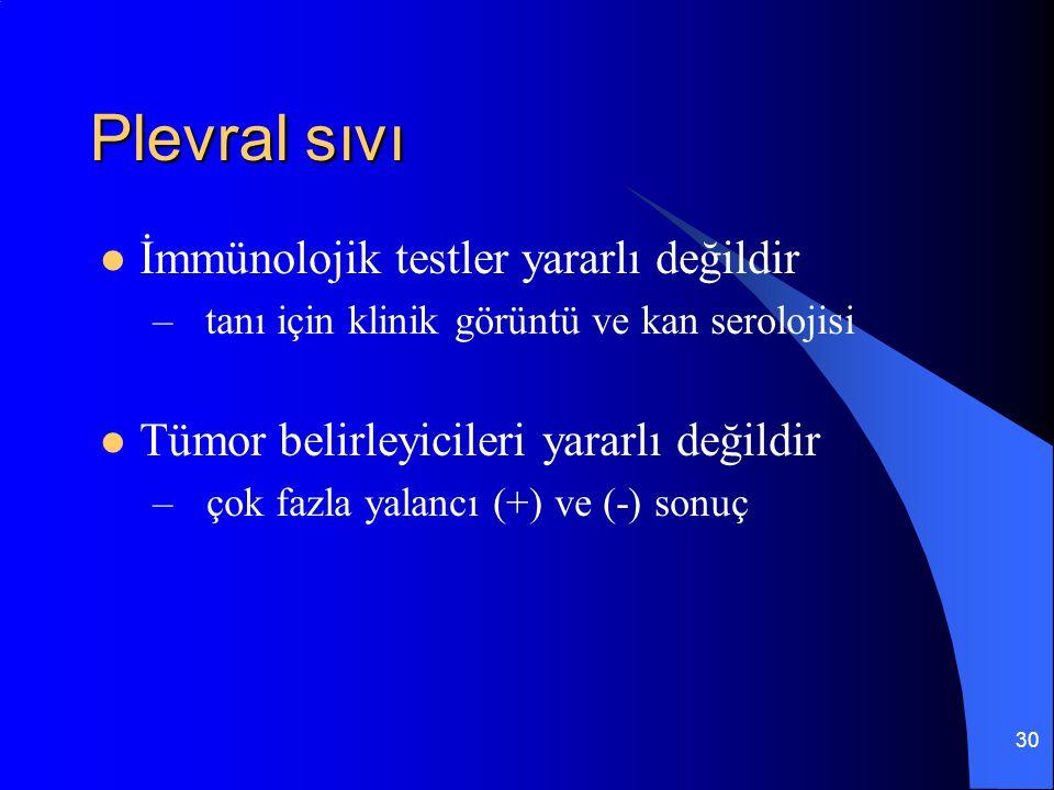 30 Plevral sıvı İmmünolojik testler yararlı değildir – tanı için klinik görüntü ve kan serolojisi Tümor belirleyicileri yararlı değildir – çok fazla y